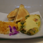 Spinach Omelet By Chef Manny Served with Toast and Hash Browns